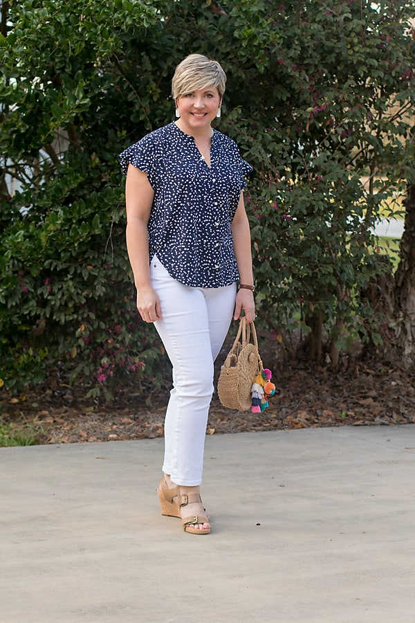 JCrew Factory camp shirt with white jeans