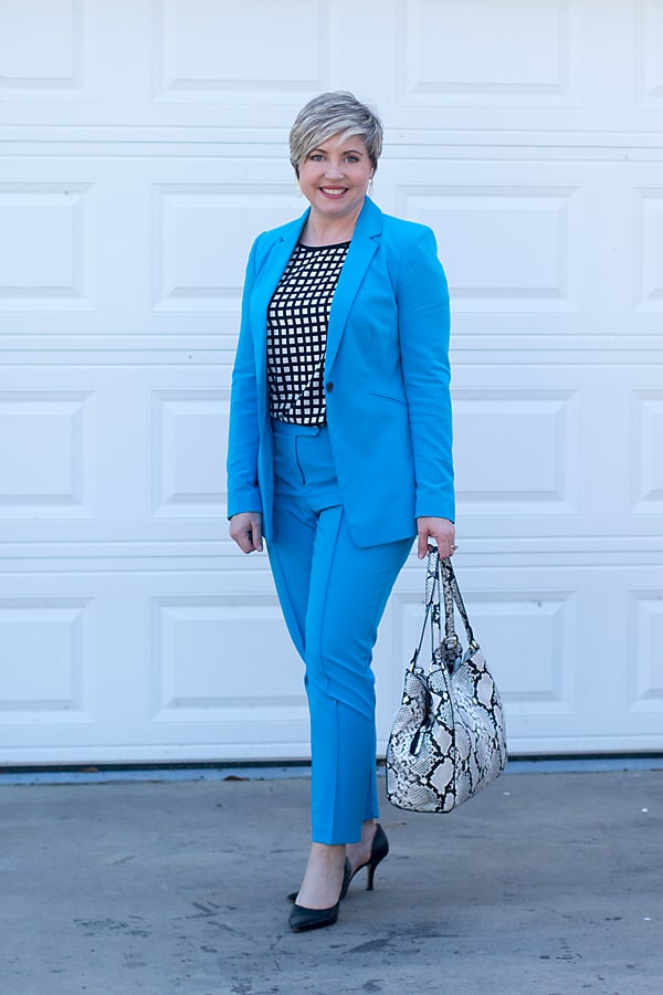 new power suit in bright blue with black