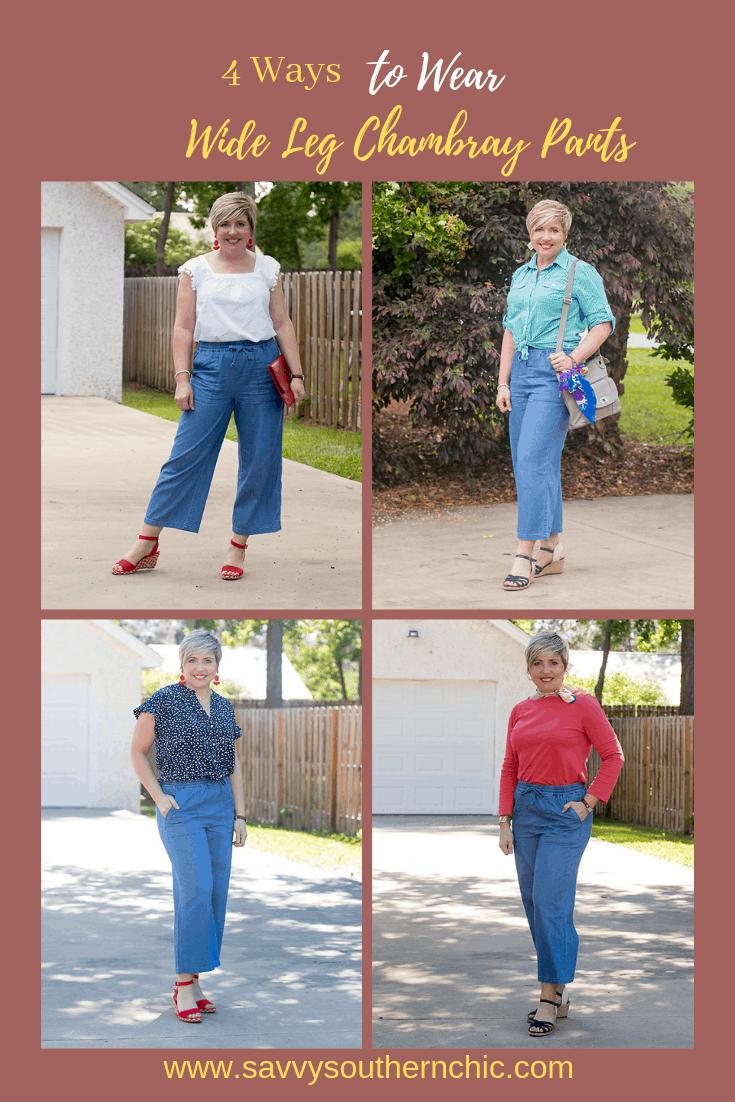 4 ways to wear wide leg chambray pants