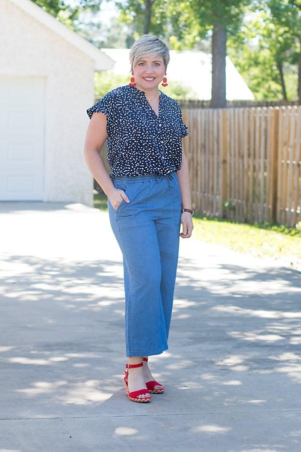 wide leg chambray pants with ruffle sleeve camp shirt