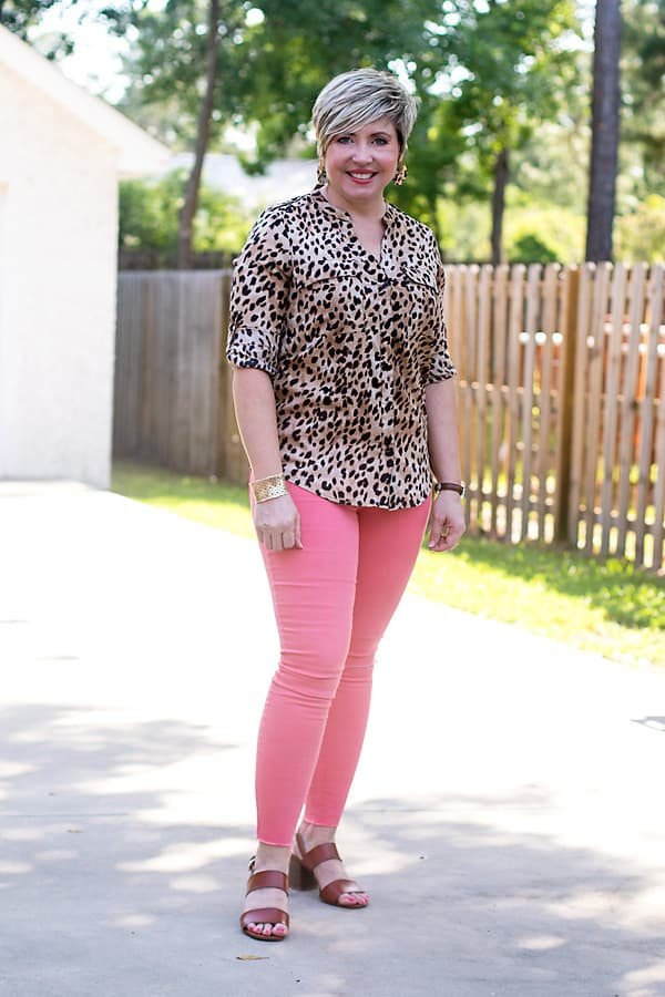 leopard top with coral jeans