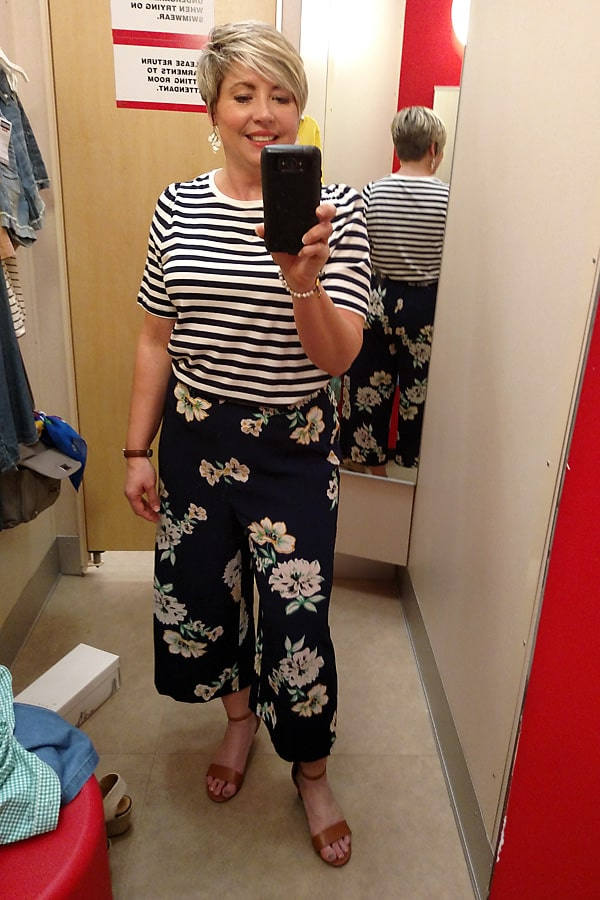 striped top and floral crop pants