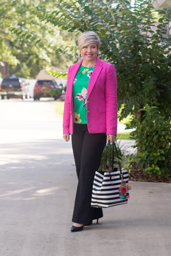 hot pink blazer office outfit