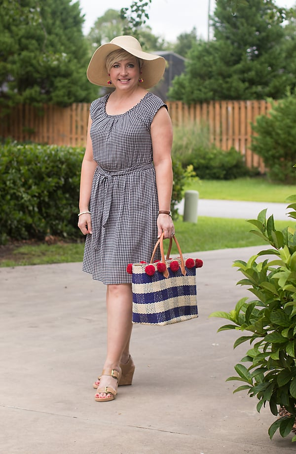 gingham dress with straw hat outfit
