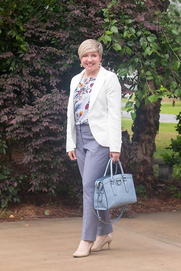 white blazer and light blue pants womens office attire