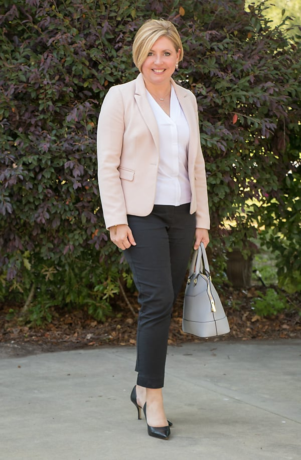 blush blazer and black pants office outfit