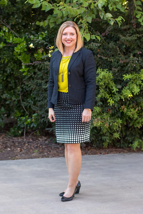 print pencil skirt office outfit
