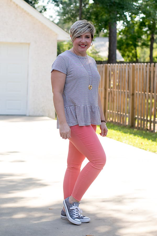 striped peplum tee, how to style sneakers with coral jeans
