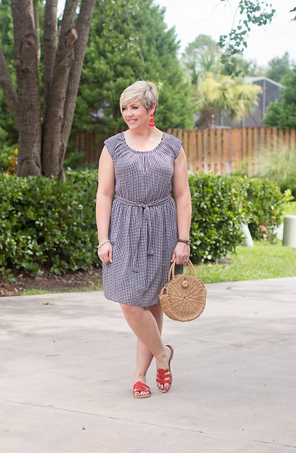 navy gingham summer dress with red slides