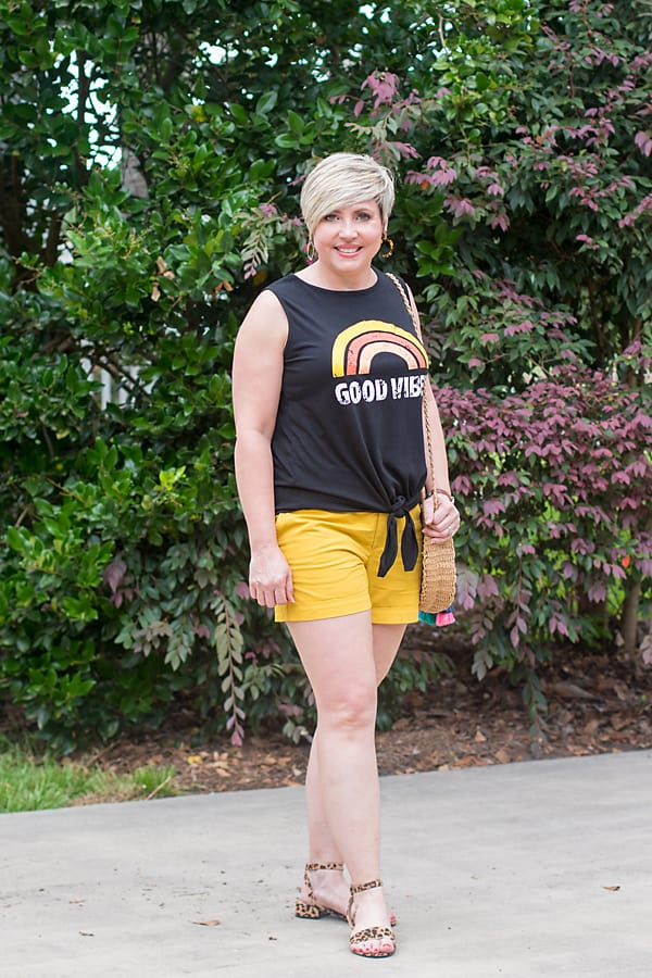 yellow tie waist shorts with leopard sandals