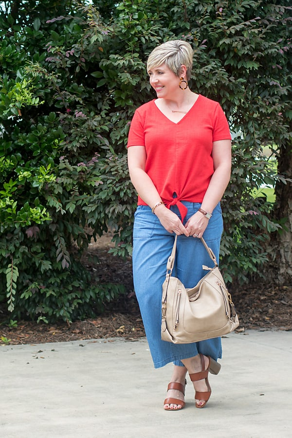 dressy casual summer outfit, dress it up with block heel sandals