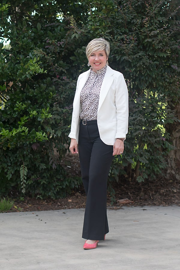 black and white women's office outfit