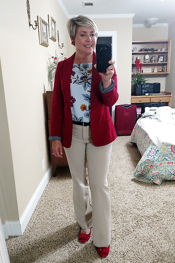womens office outfit with red blazer