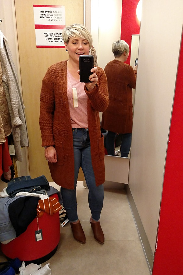 cardigan in warm fall colors