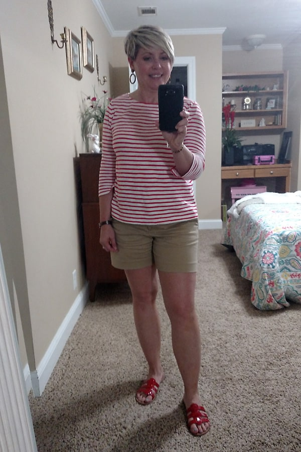 striped boatneck top with shorts
