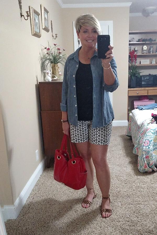 chambray shirt and shorts summer outfit