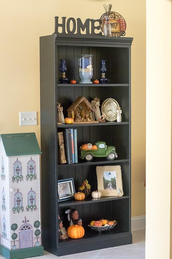 fall decor bookcase