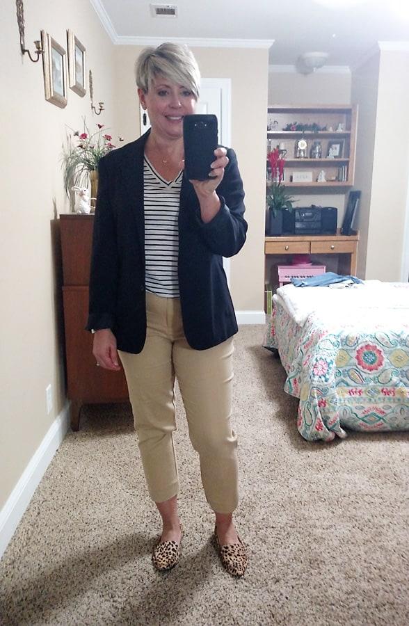 striped tee with blazer