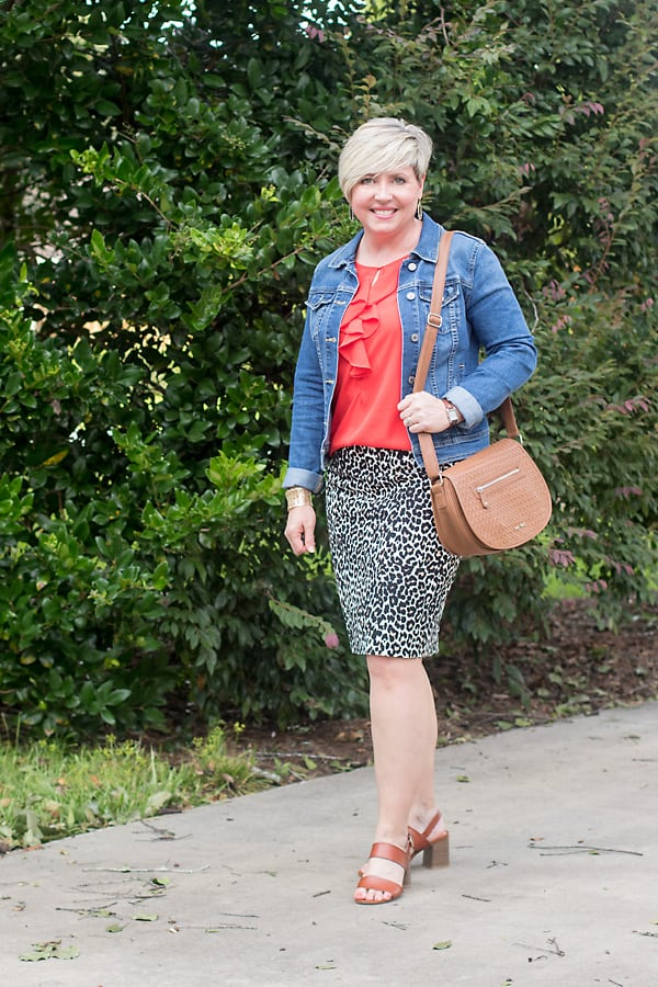 leopard print skirt with denim jacket