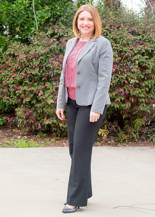 grey pinstripe blazer outfit