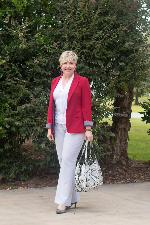 red blazer for women's work wear
