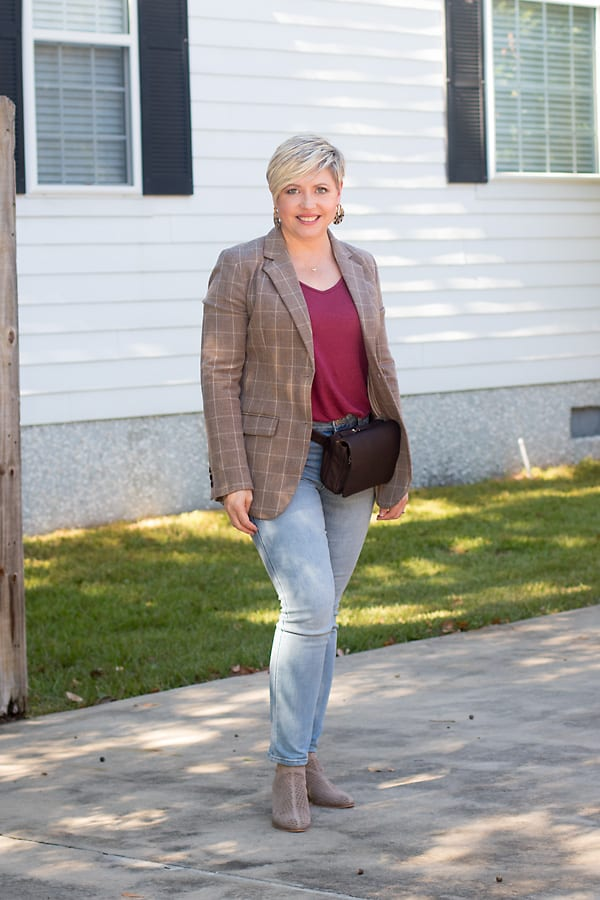 Brown plaid blazer in casual outfit for women over 40