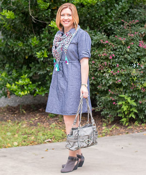 chambray dress with booties fall outfit