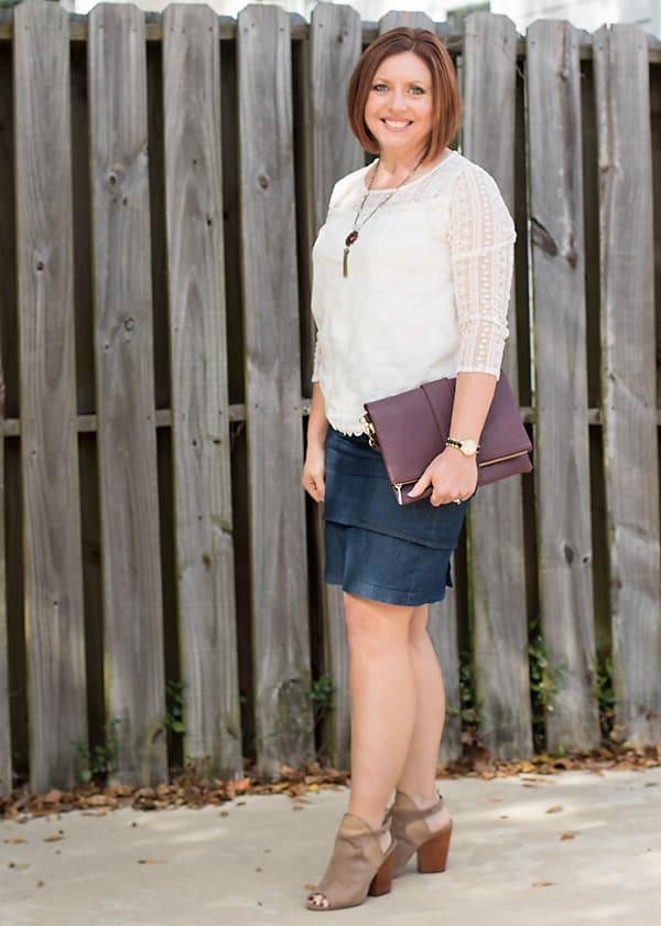 denim skirt fall outfit