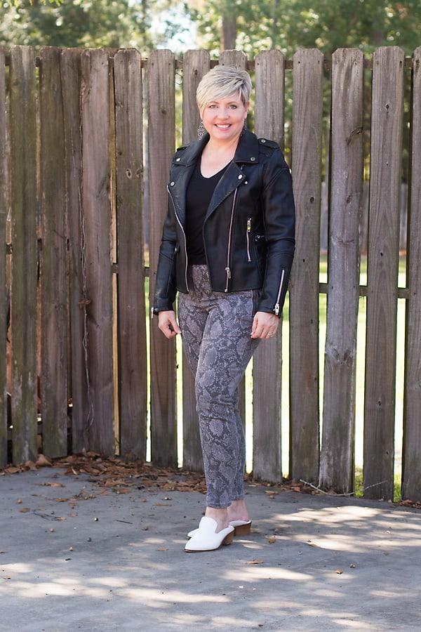 snakeskin jeans and moto jacket