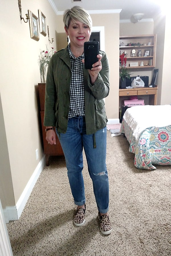 gingham shirt with utility jacket and boyfriend jeans fall outfit