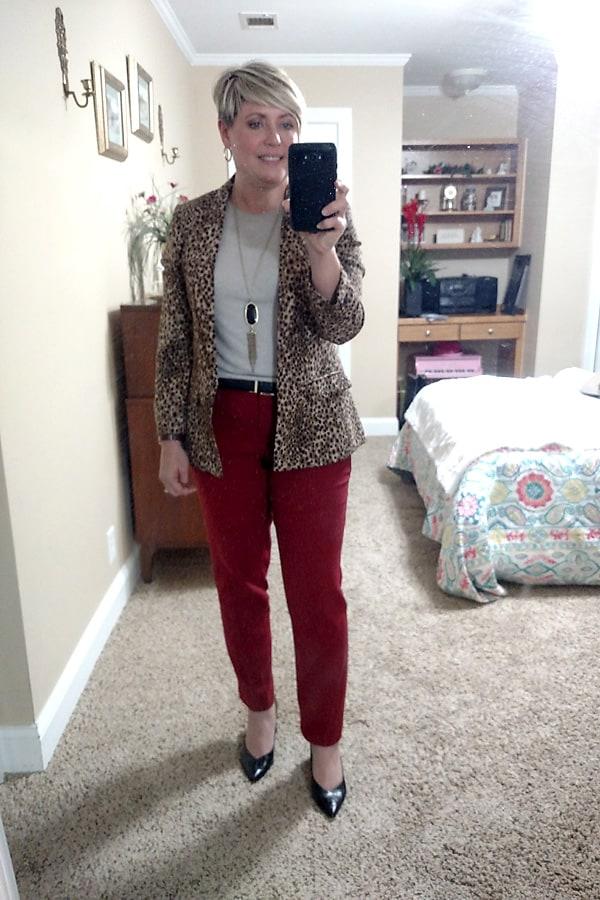 leopard blazer outfit