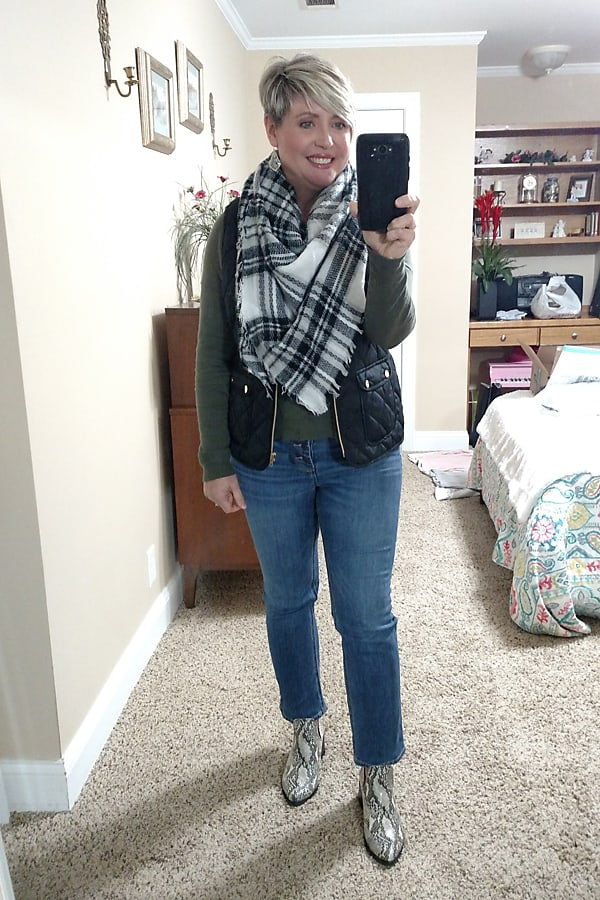 Plaid scarf with puffer vest and snakeskin booties womens's fall outfit