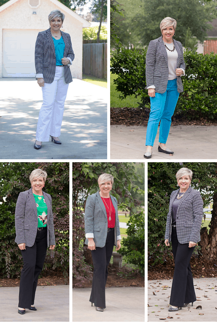 Gingham blazer outfits for the office
