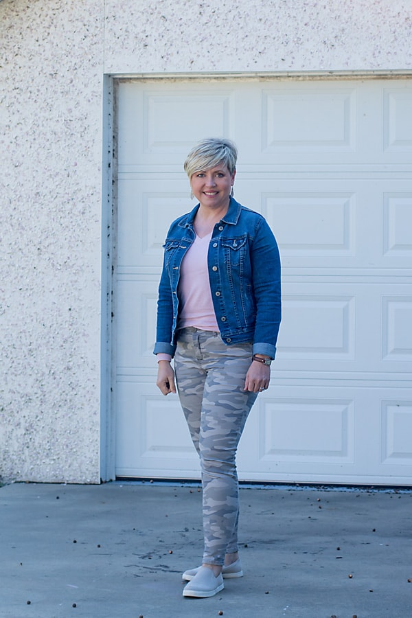 camo pants with denim jacket outfit