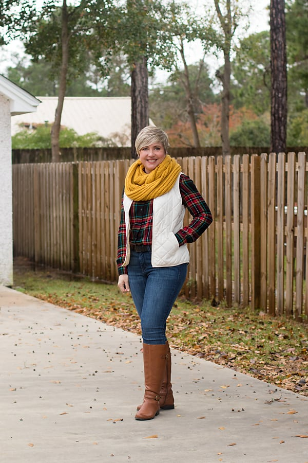 flannel shirt and puffer vest