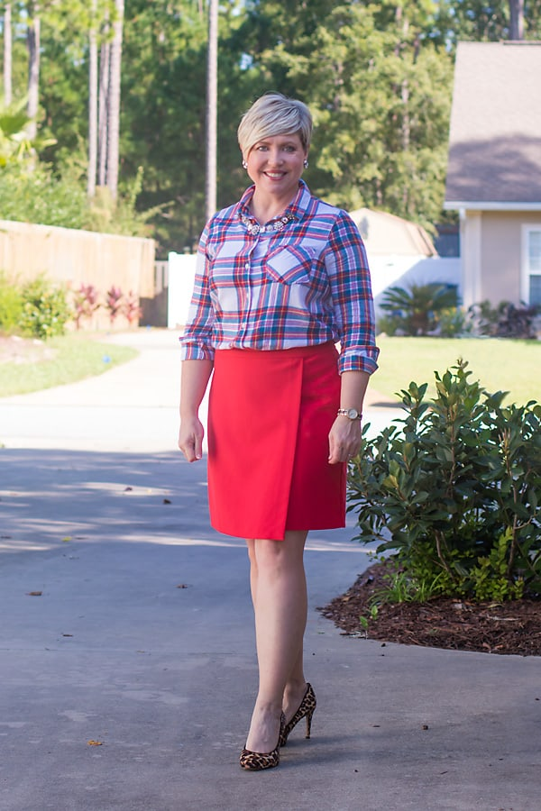 flannel shirt with skirt Christmas outfit