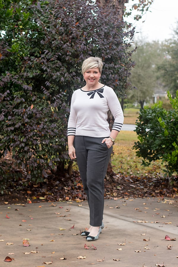 bow sweater with ankle pants