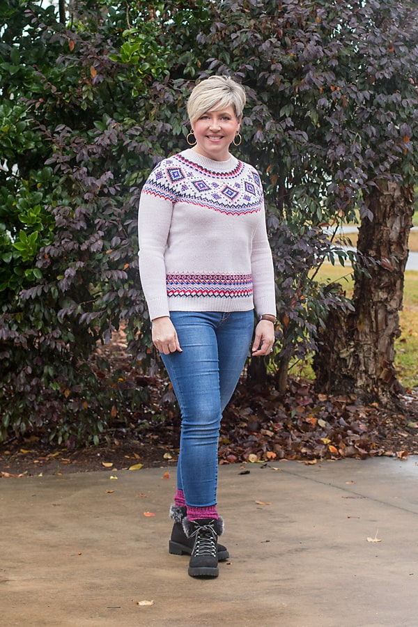 fair isle sweater and winter boots outfit