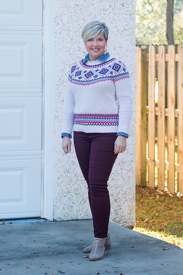 fair isle sweater and jeans