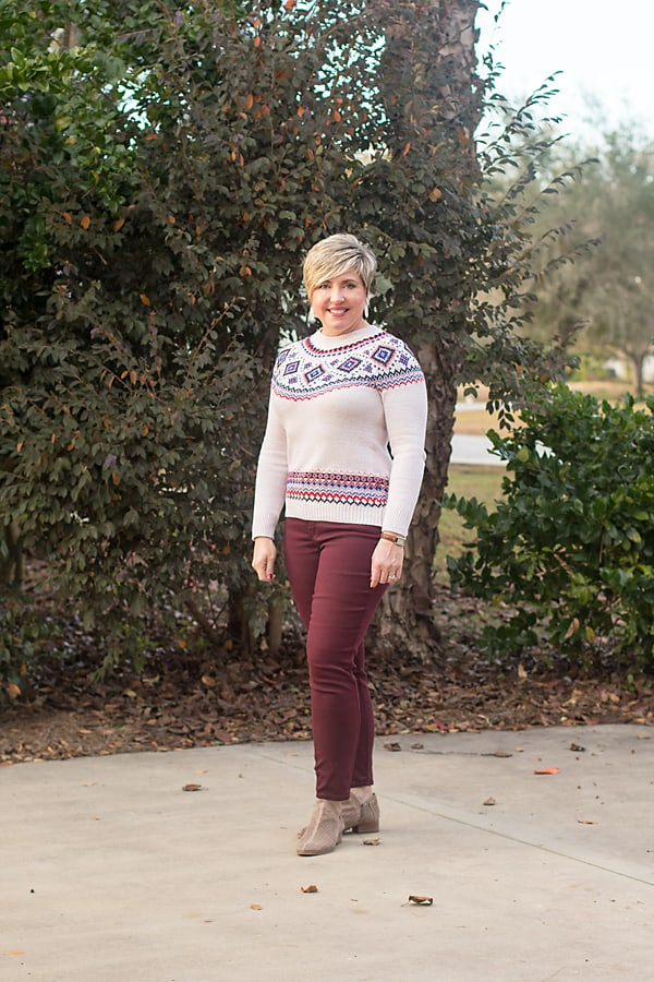 fair isle sweater and burgundy jeans/ Christmas outfits that aren't red and black