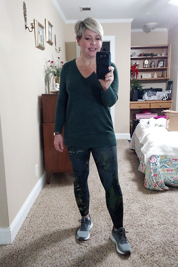 Old Navy leggings and tunic sweater