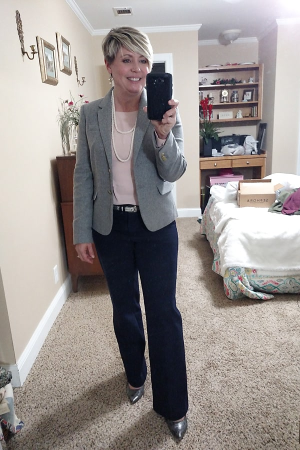schoolboy blazer outfit with navy pants