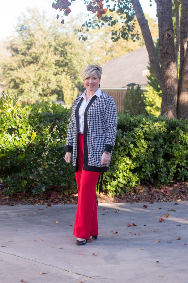 houndstooth cardigan office outfit