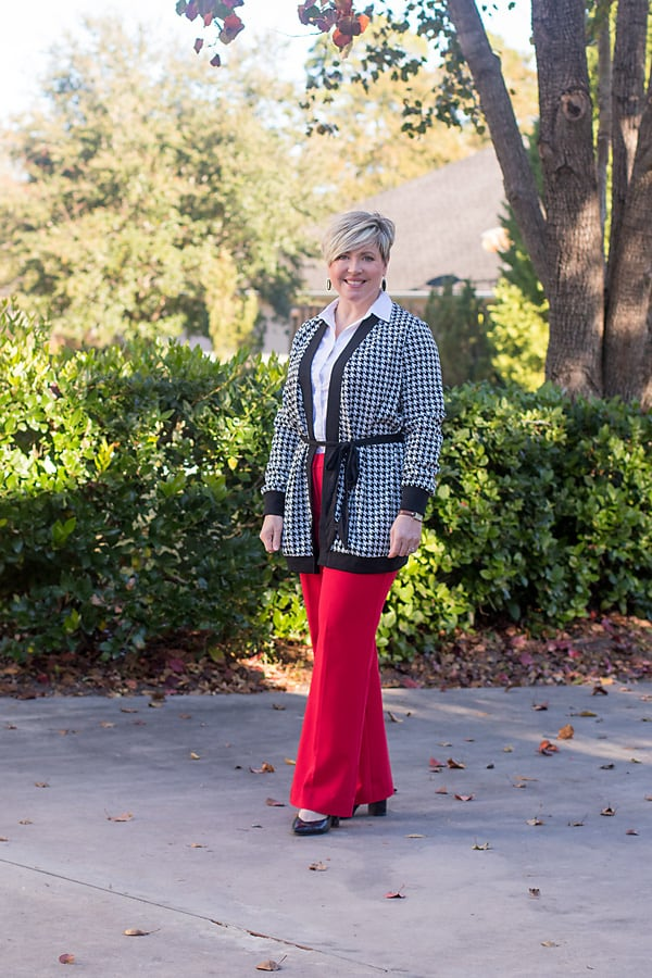 tie waist houndstooth cardigan