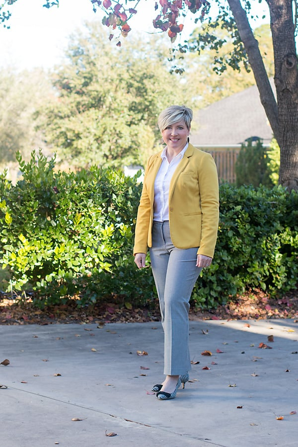 women's office outfit with mustard blazer and houndstooth pants