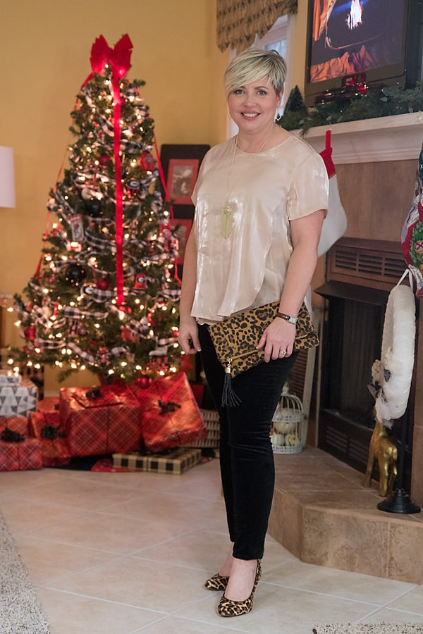 iridescent top with leopard pumps