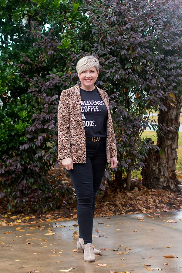 graphic tee with leopard blazer