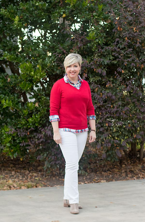 red sweater with plaid shirt and corduroy pants Christmas winter outfit