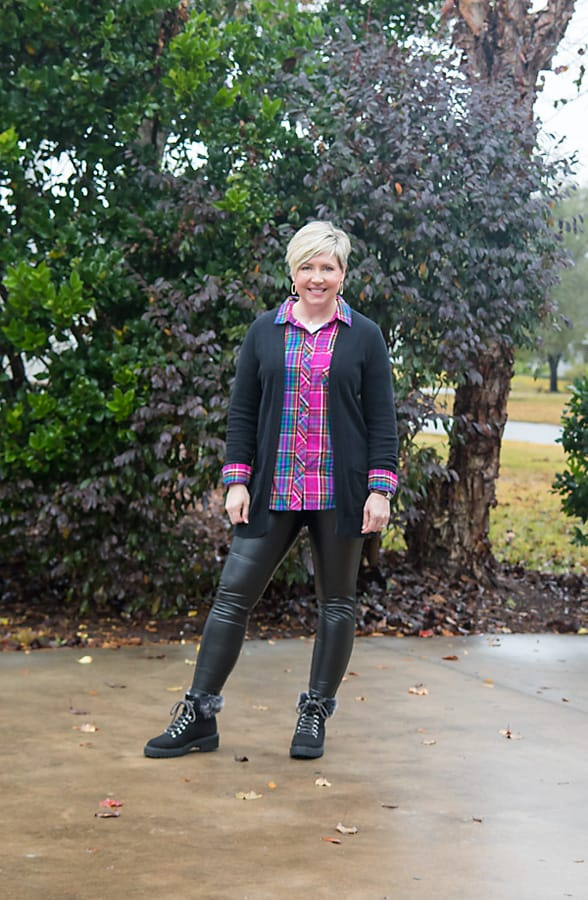 plaid shirt and cardigan with leggings