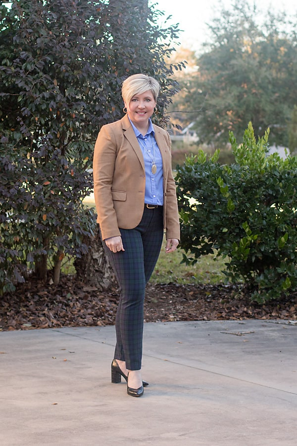 black watch plaid pants and camel blazer office outfit